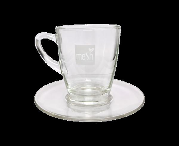 mesh Stick Teeglas mit Untersetzer