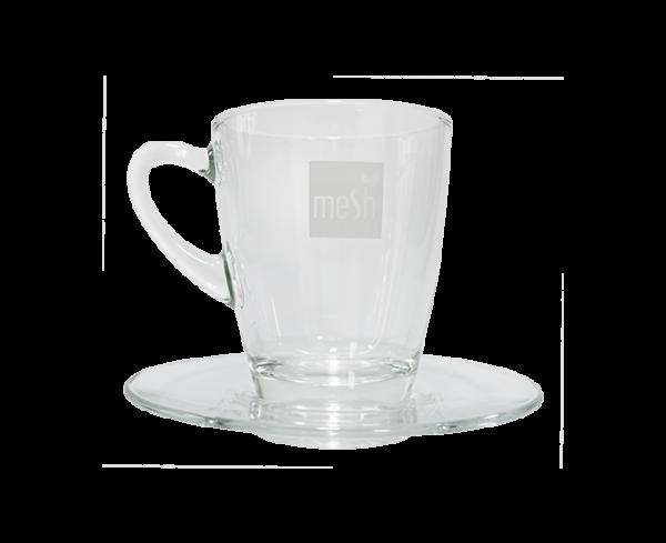 Meshstick - Glas und Unterteller für Tee